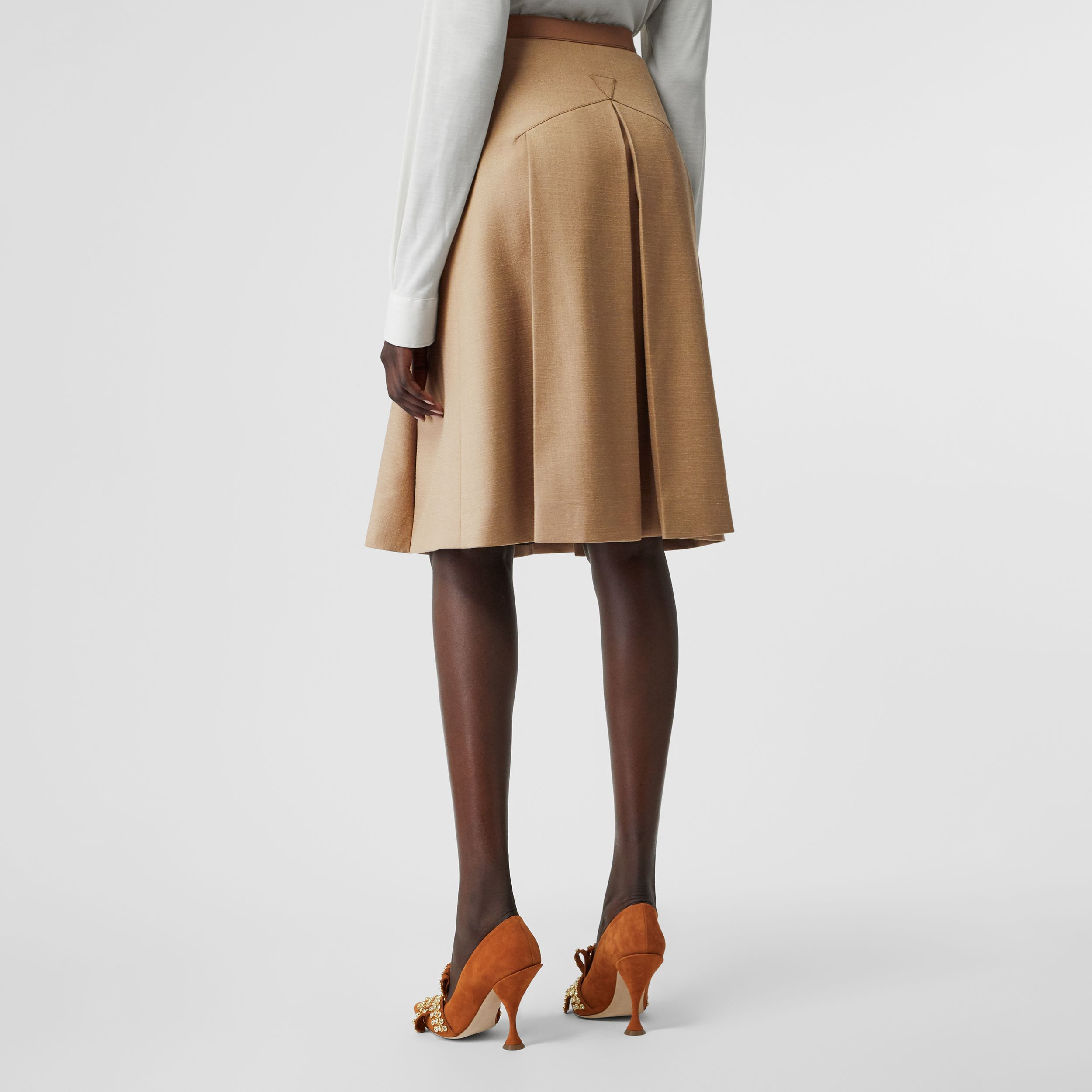 Lambskin Trim Box-pleated Wool Silk Skirt in Camel - Women | Burberry Australia - 3