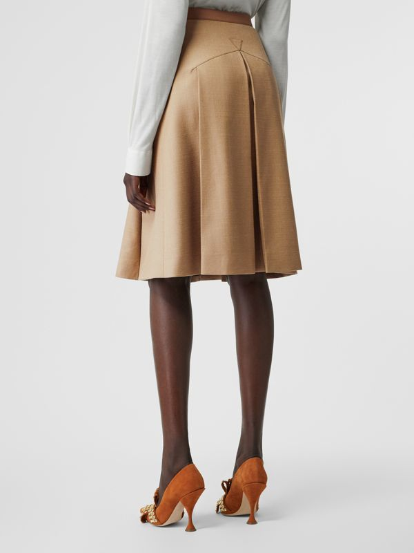 Lambskin Trim Box-pleated Wool Silk Skirt in Camel - Women | Burberry Canada - cell image 2