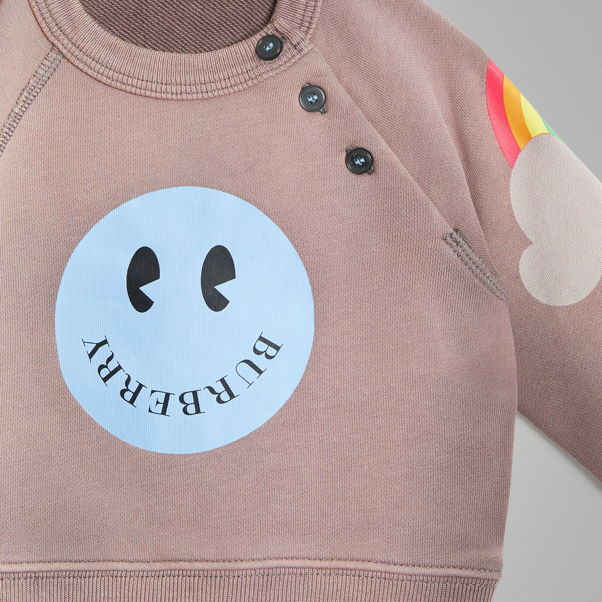 Smiley Face Print Cotton Sweatshirt in Mauve - Children | Burberry - gallery image 4