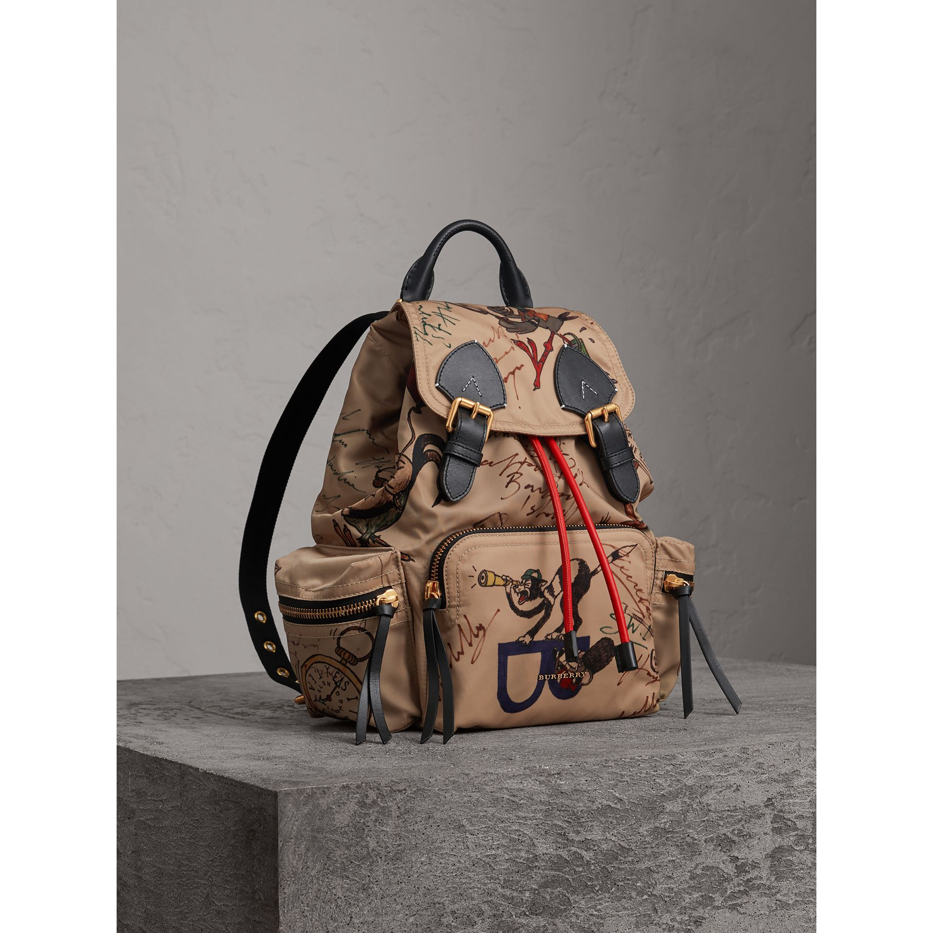 The Medium Rucksack in Sketch Print Nylon in Honey - Women | Burberry - gallery image 1