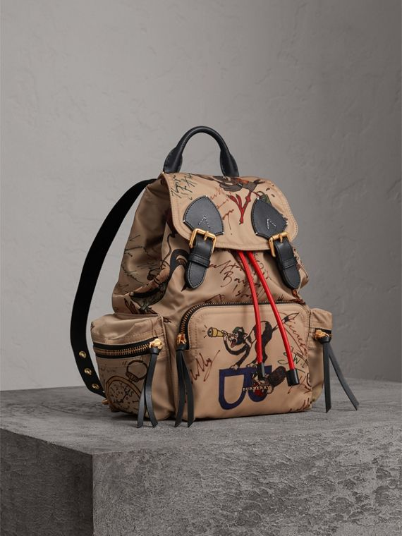 The Medium Rucksack in Sketch Print Nylon in Honey