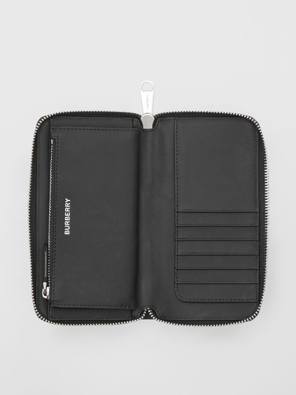 London Check and Leather Phone Wallet in Dark Charcoal - Men | Burberry Hong Kong S.A.R - cell image 3