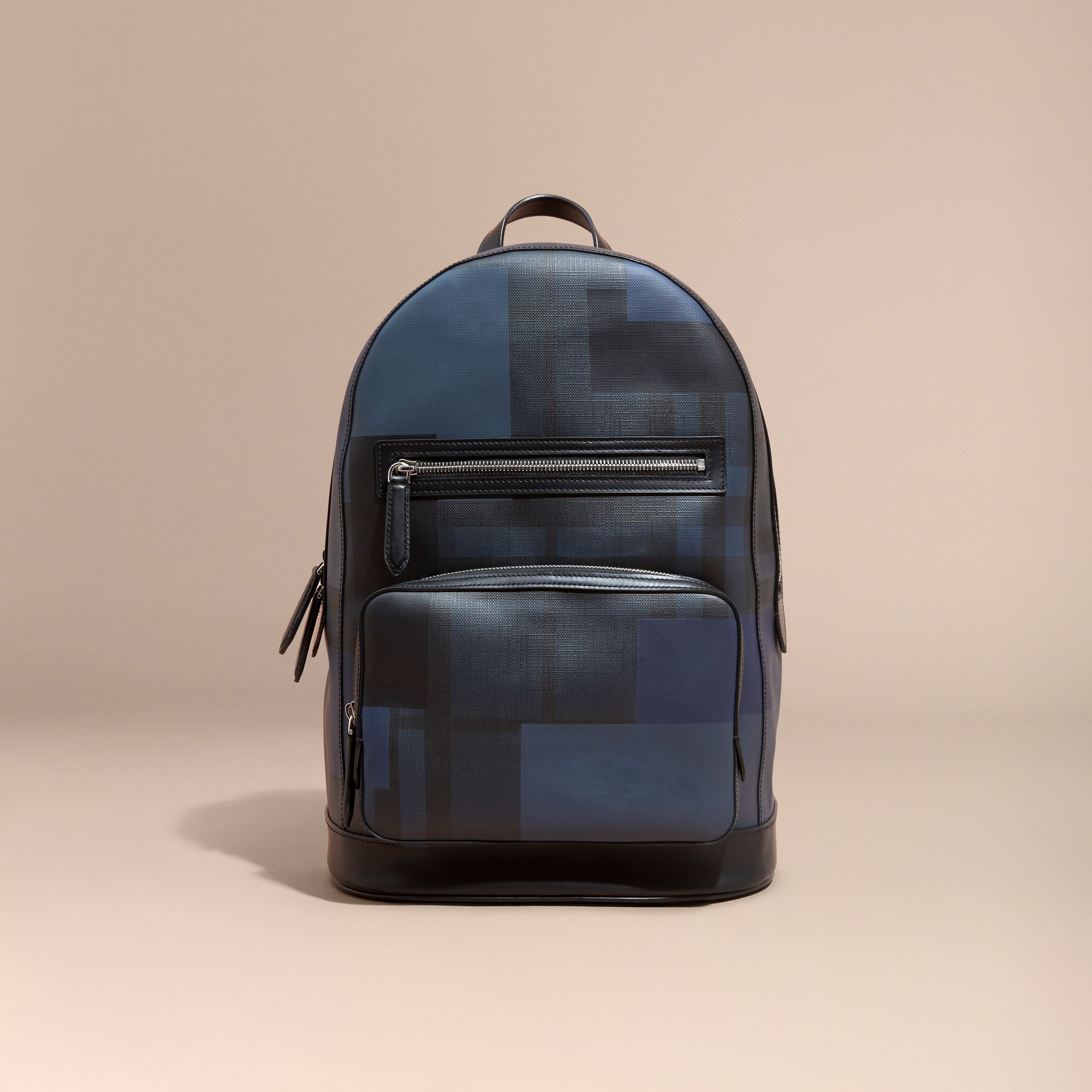 Navy/geometric Patchwork Print London Check Backpack - gallery image 7