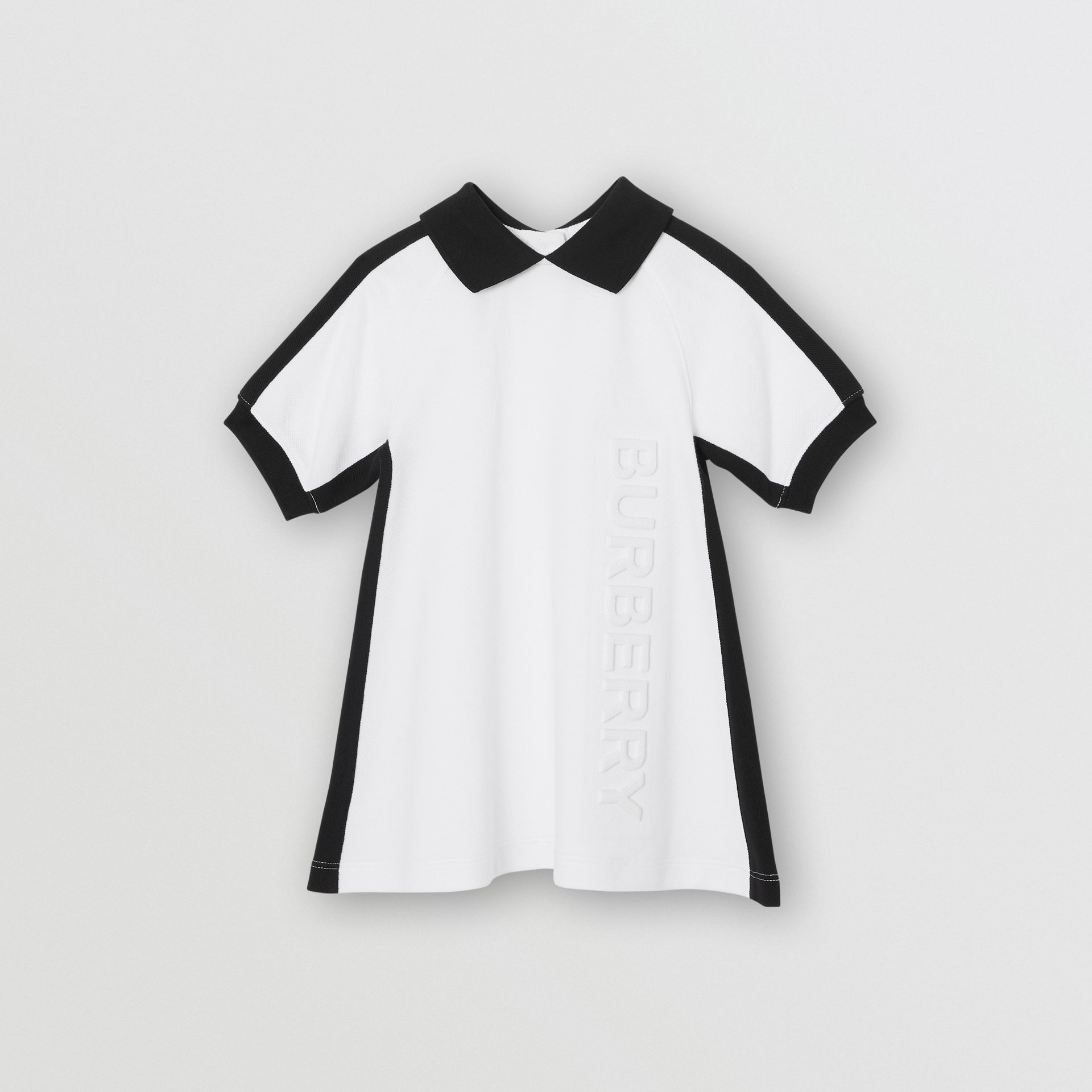 Embossed Logo Cotton Polo Dress in White - Children | Burberry United States - gallery image 0