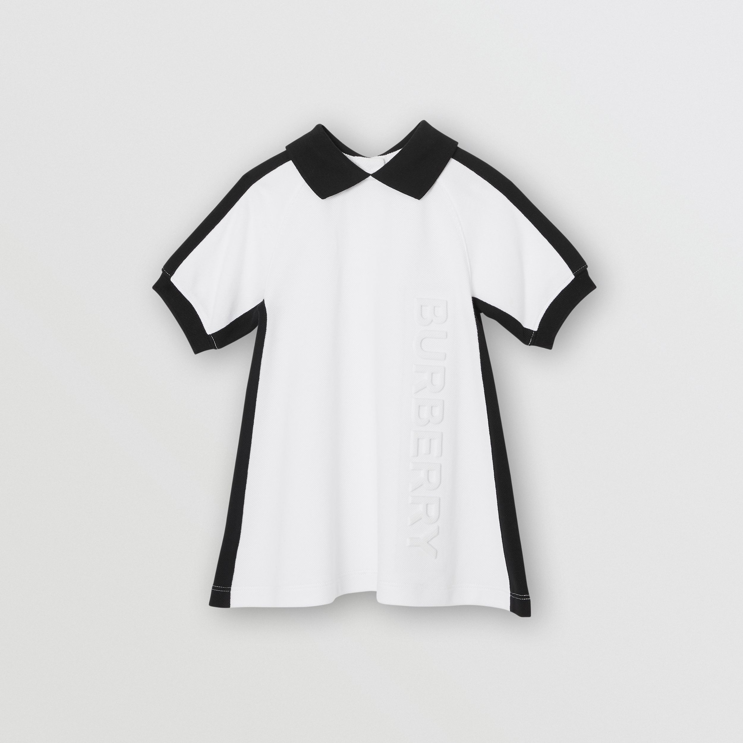 Embossed Logo Cotton Polo Dress in White | Burberry - 1