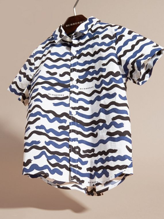Short-sleeve Waves Print Cotton Shirt - cell image 2