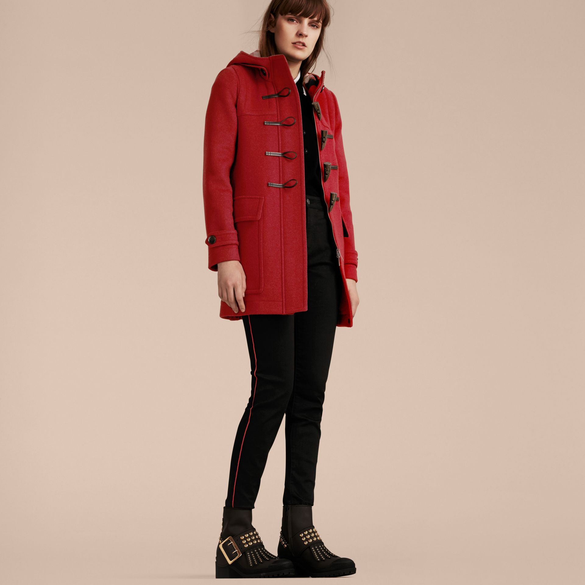 Windsor red Wool Duffle Coat with Check and Hearts Lining Windsor Red - gallery image 8