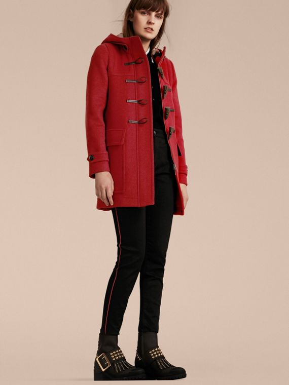 Wool Duffle Coat with Check and Hearts Lining Windsor Red