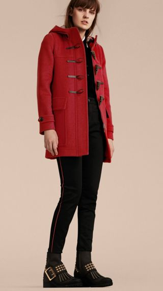 Wool Duffle Coat with Check and Hearts Lining