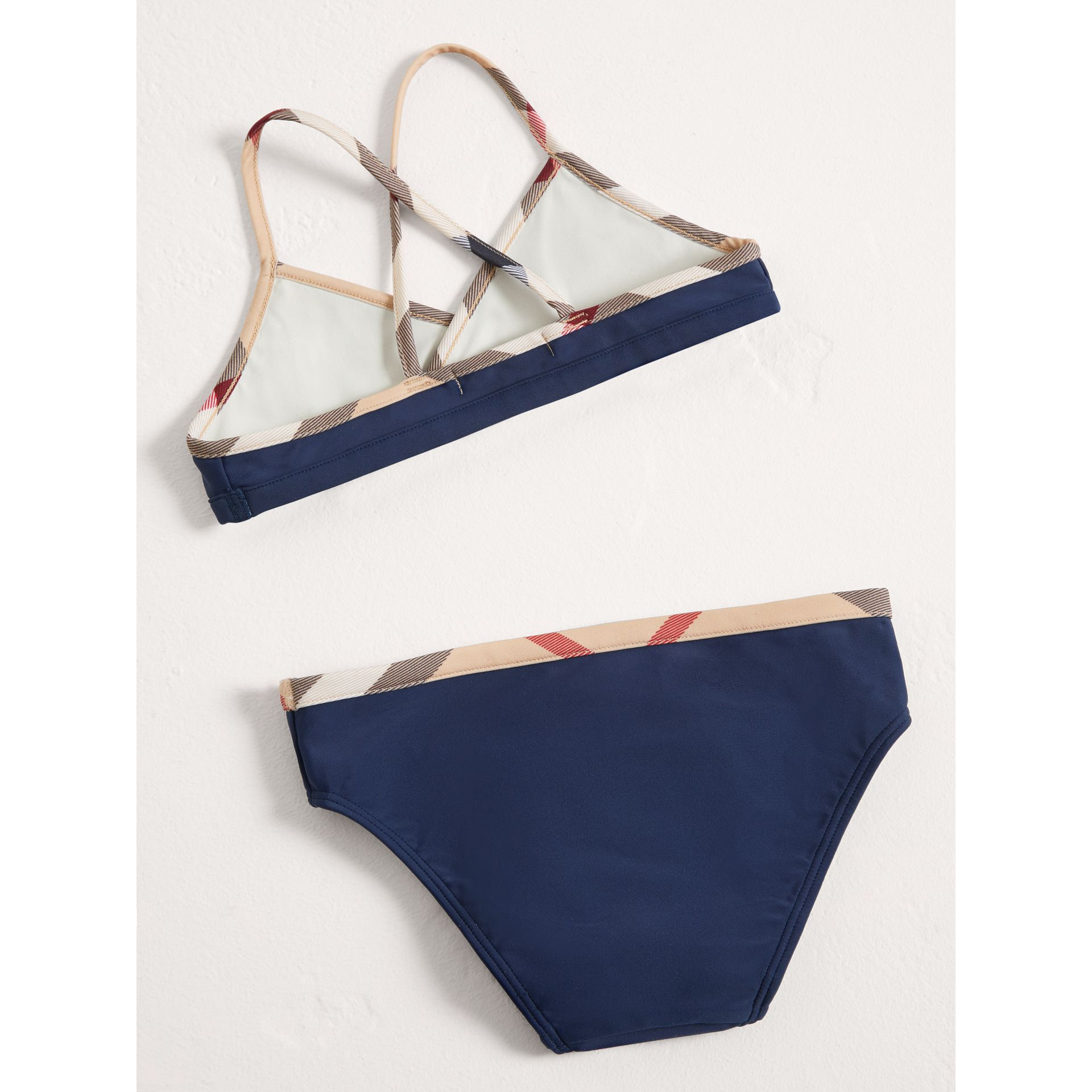 Check Trim Bikini in Navy - Girl | Burberry United States - gallery image 2