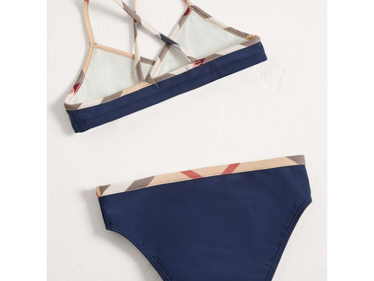 Check Trim Bikini in Navy - Girl | Burberry United States - cell image 2