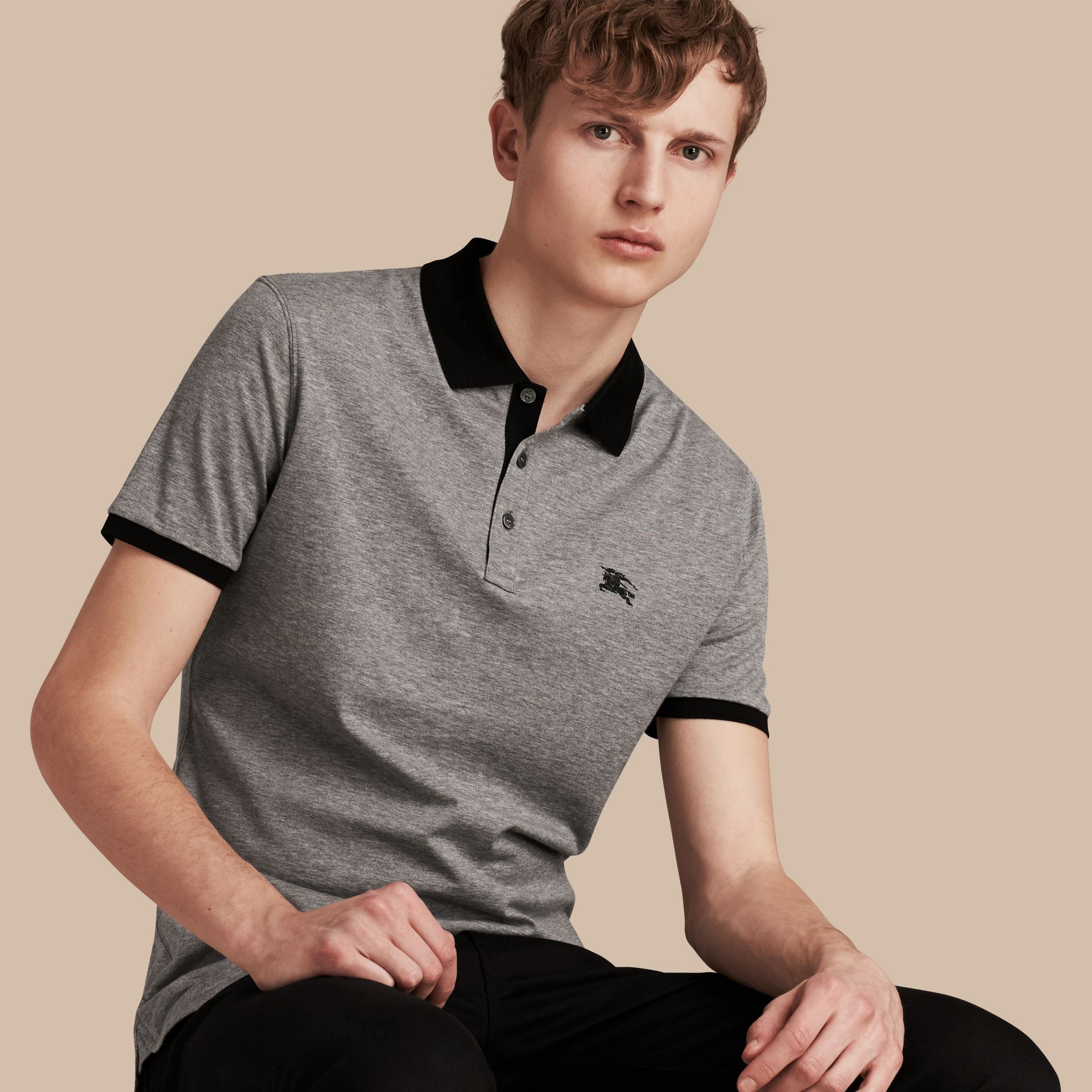 Mid grey melange Fitted Cotton Polo Shirt with Tonal Trim Mid Grey Melange - gallery image 1