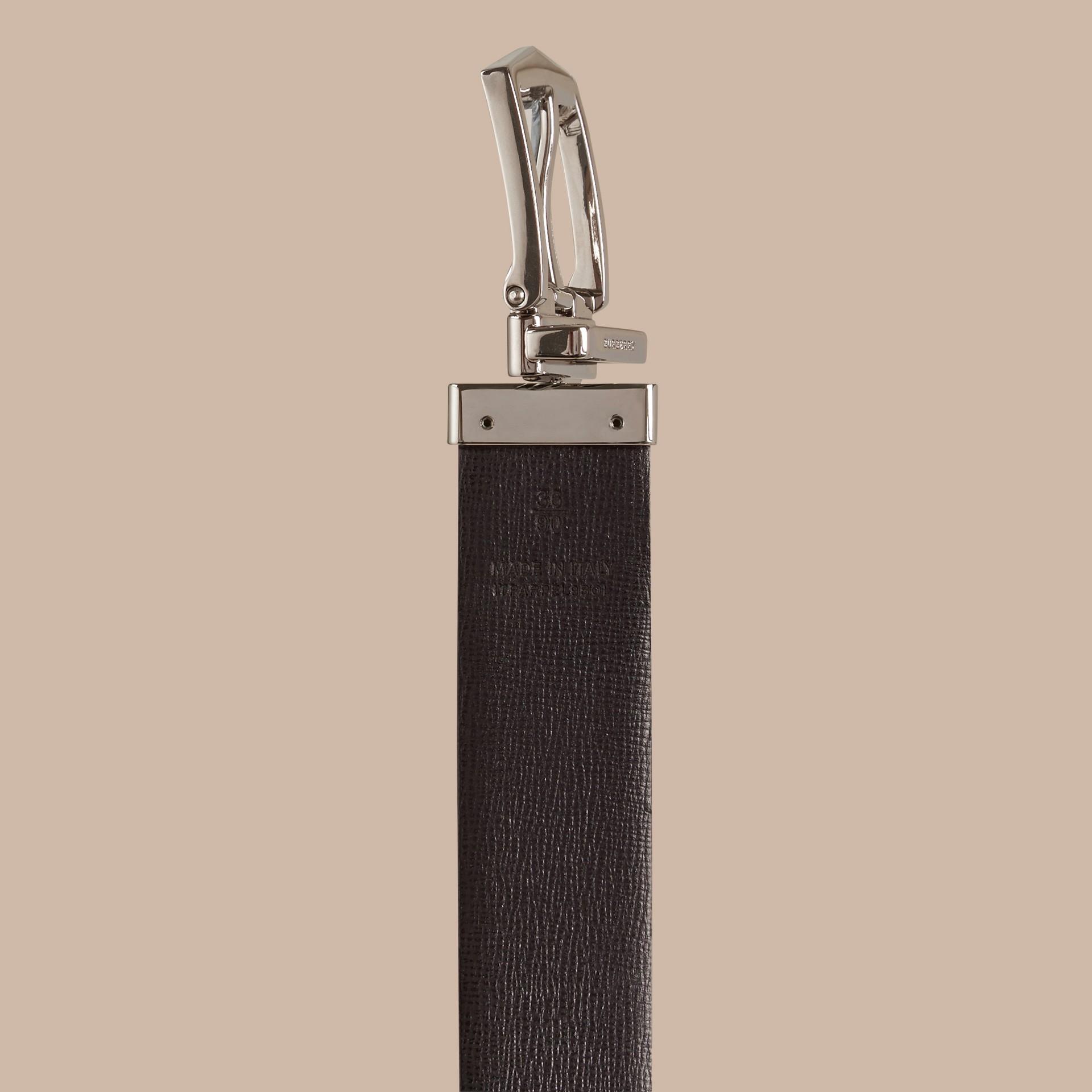 Navy scuro/nero Cintura double face in pelle London Navy Scuro/nero - immagine della galleria 4