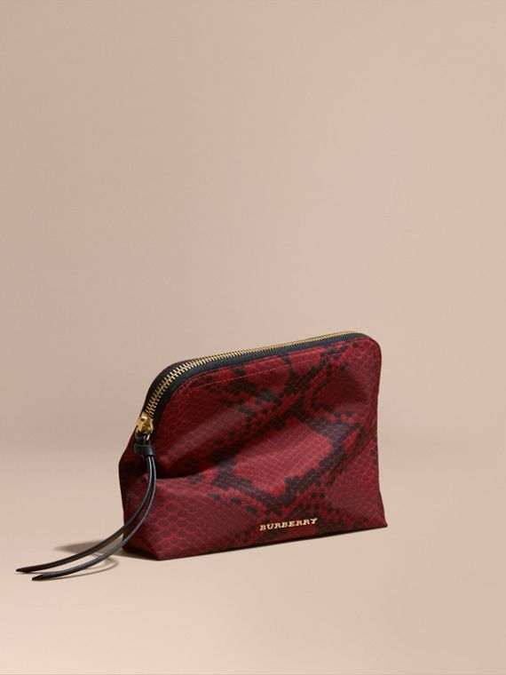 Large Zip-top Python-print Technical Nylon Pouch Burgundy Red