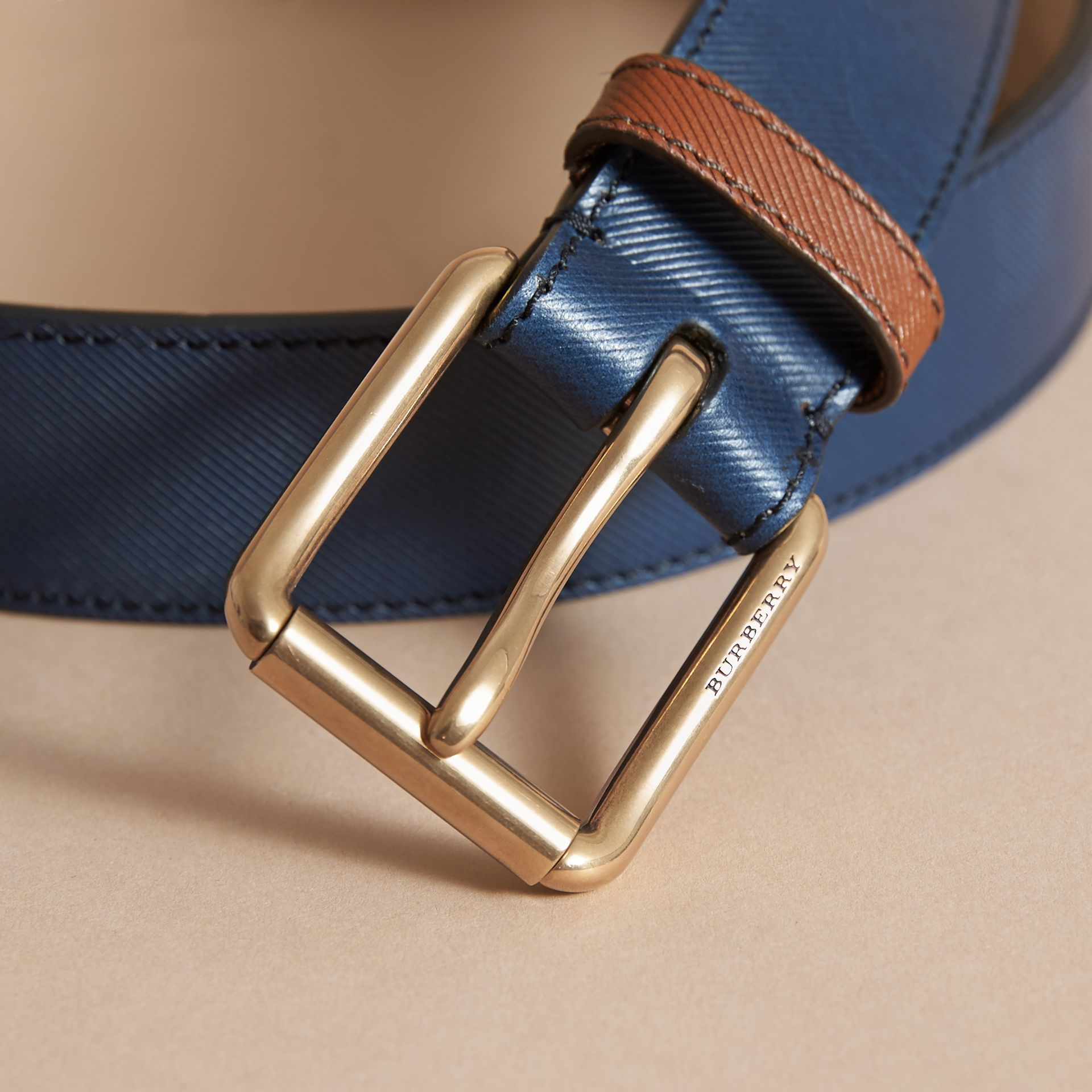 Two-tone Trench Leather Belt in Dark Navy - Men | Burberry Australia - gallery image 2