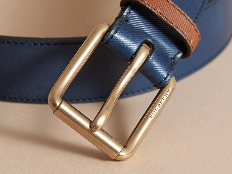 Two-tone Trench Leather Belt in Dark Navy - Men | Burberry Australia - cell image 1