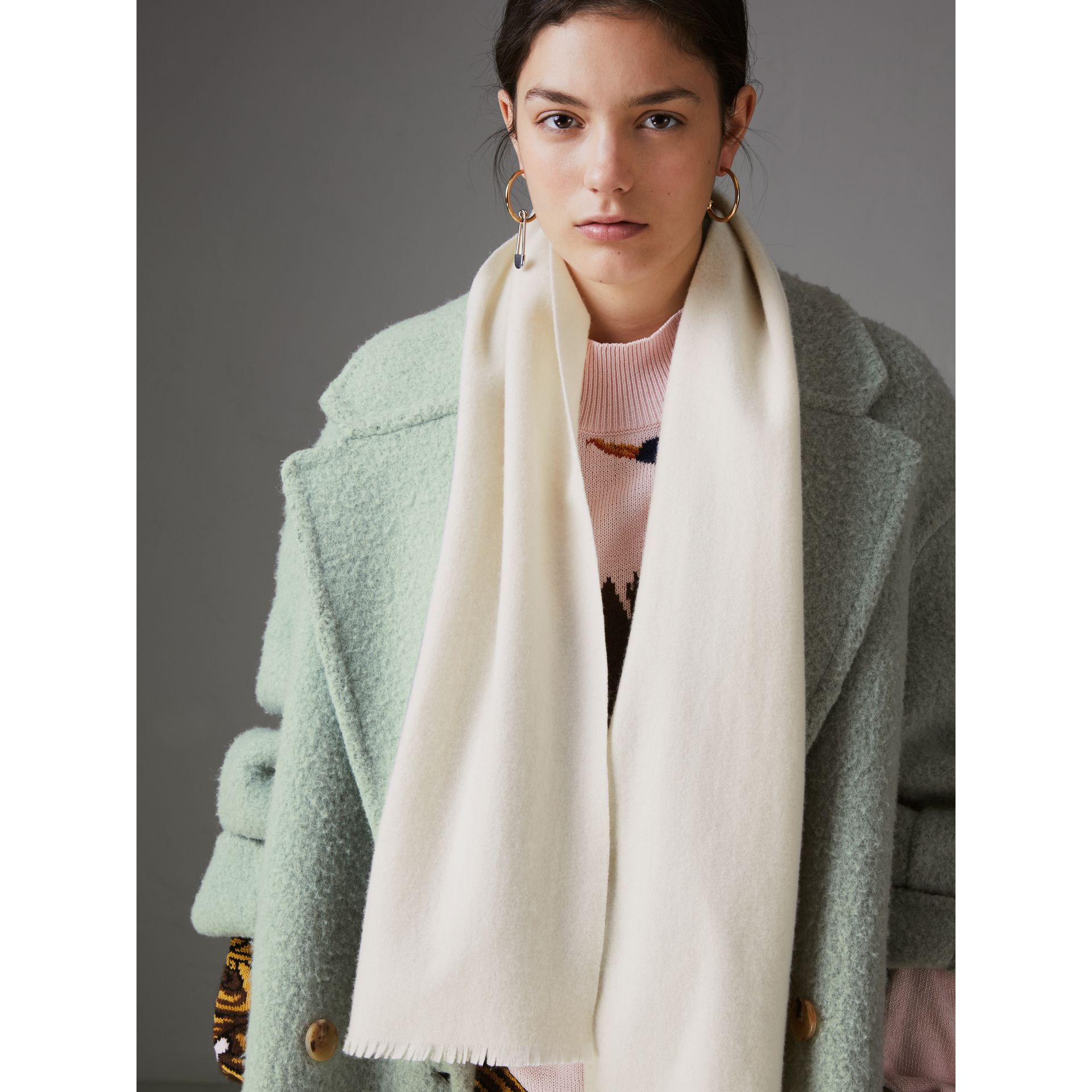 Embroidered Felted Wool Scarf in Ivory | Burberry - gallery image 4