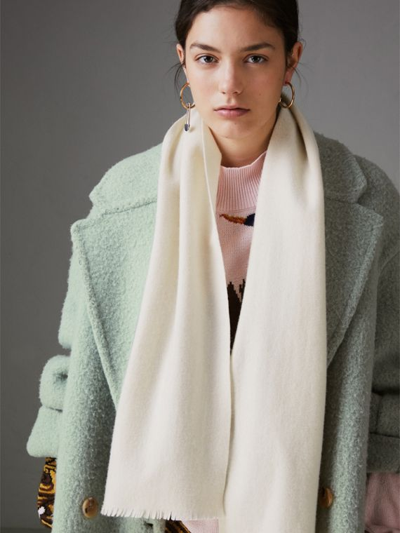 Embroidered Felted Wool Scarf in Ivory