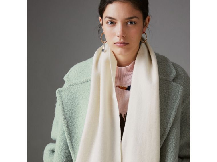Embroidered Felted Wool Scarf in Ivory | Burberry - cell image 4