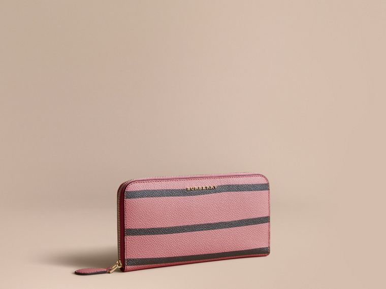 Trompe L'oeil Print Leather Ziparound Wallet in Dusty Pink - Women | Burberry - cell image 1