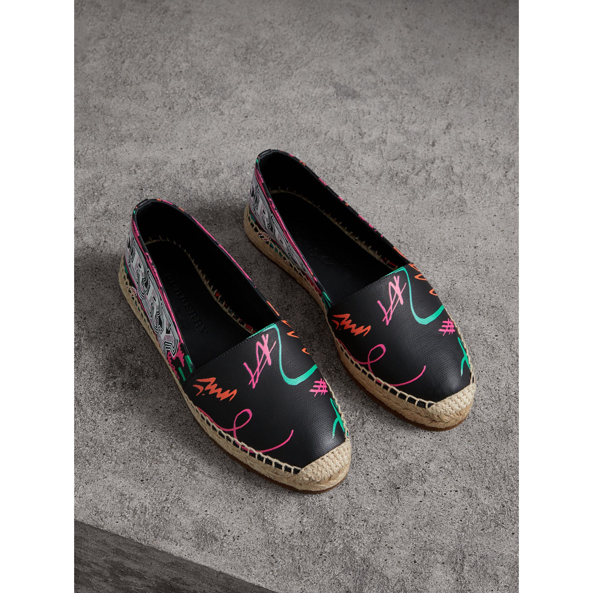 Doodle Print Coated Cotton Espadrilles in Black - Women | Burberry - gallery image 0