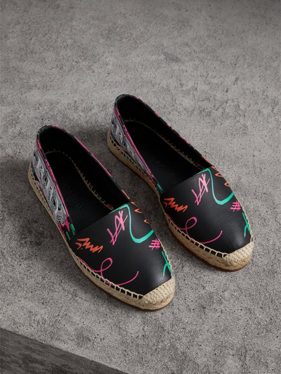 Doodle Print Coated Cotton Espadrilles in Black