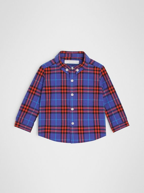 Camicia in cotone con motivo tartan e colletto button-down (Blu Zaffiro)