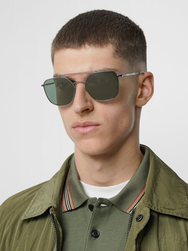 Top Bar Detail Square Pilot Sunglasses in Gunmetal Grey - Men | Burberry United States - cell image 2