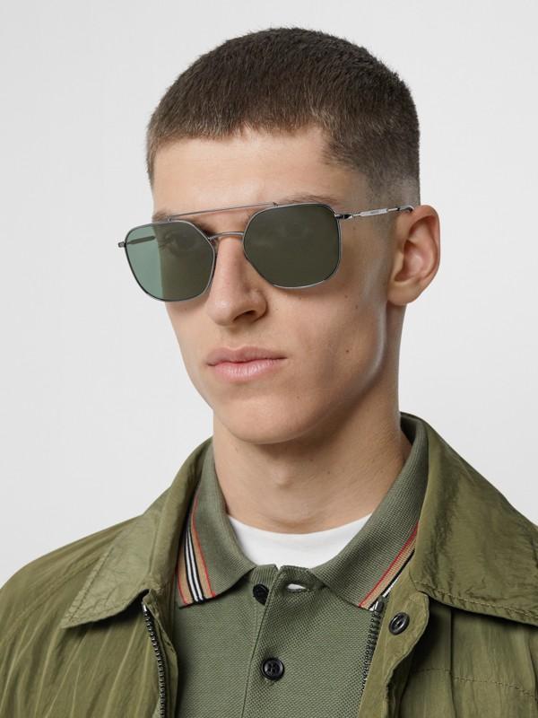 Top Bar Detail Square Pilot Sunglasses in Gunmetal Grey - Men | Burberry Australia - cell image 2