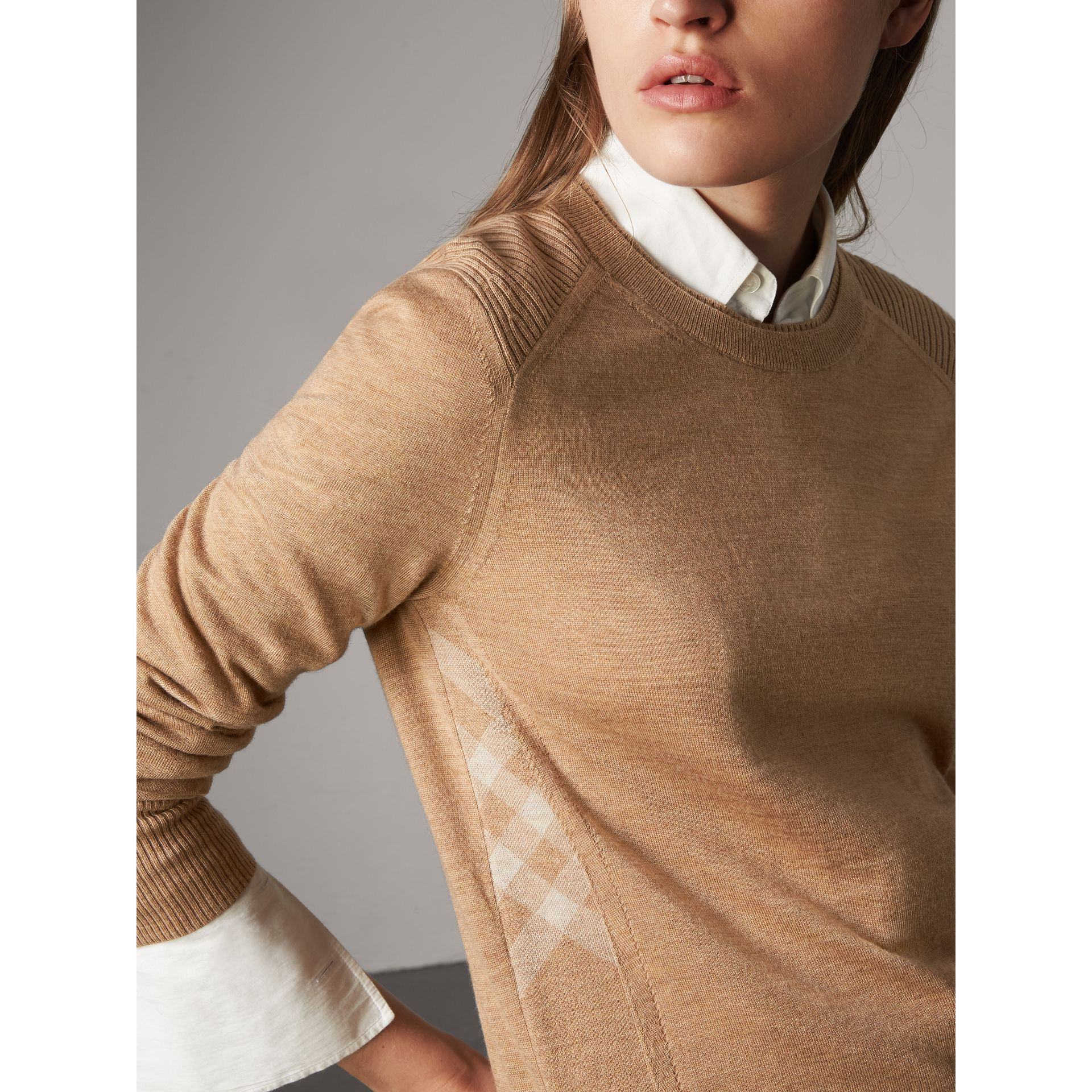 Check Detail Merino Wool Sweater in Camel - Women | Burberry - gallery image 4