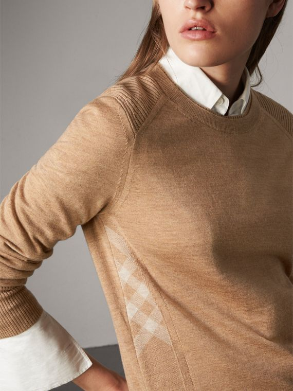 格紋細節設計美麗諾羊毛套頭衫 (駝色)