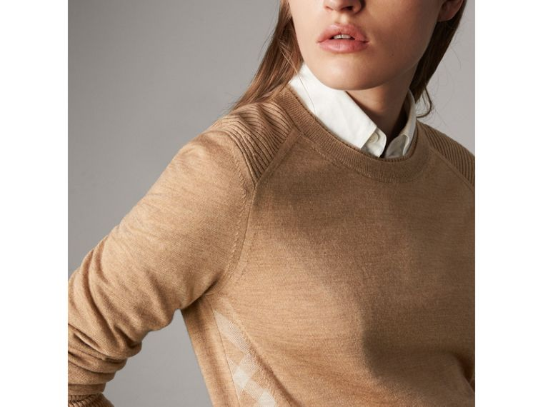 Check Detail Merino Wool Sweater in Camel - Women | Burberry - cell image 4
