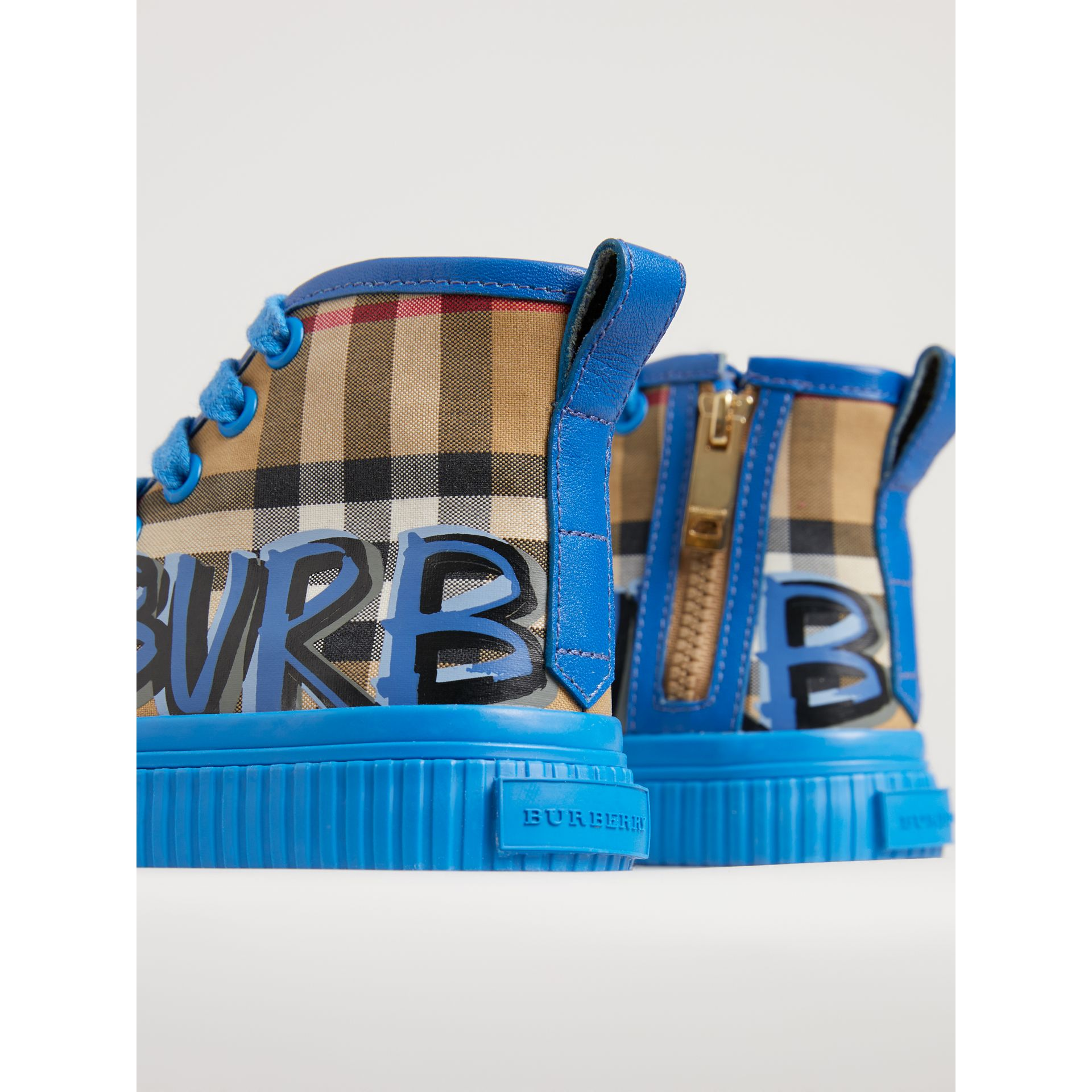 Graffiti Vintage Check High-top Sneakers in Bright Sky Blue | Burberry - gallery image 1