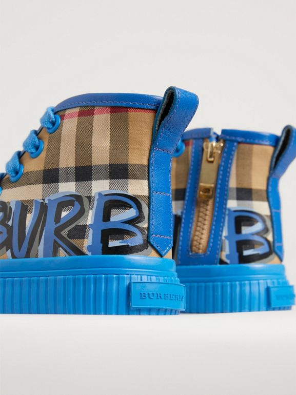 Graffiti Vintage Check High-top Sneakers in Bright Sky Blue - Children | Burberry - cell image 1