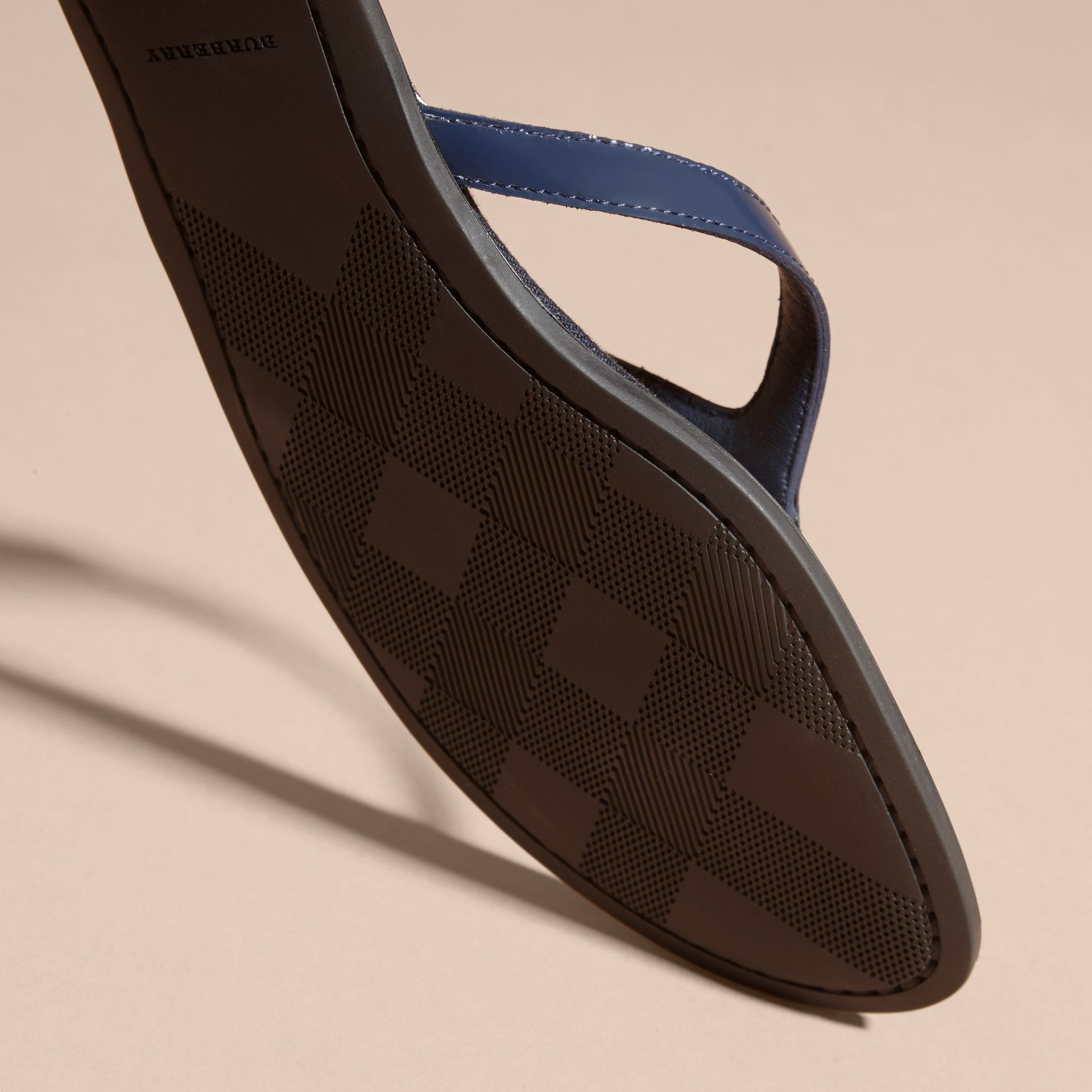 House Check and Patent Leather Sandals in Indigo Blue - Women | Burberry Hong Kong - gallery image 5