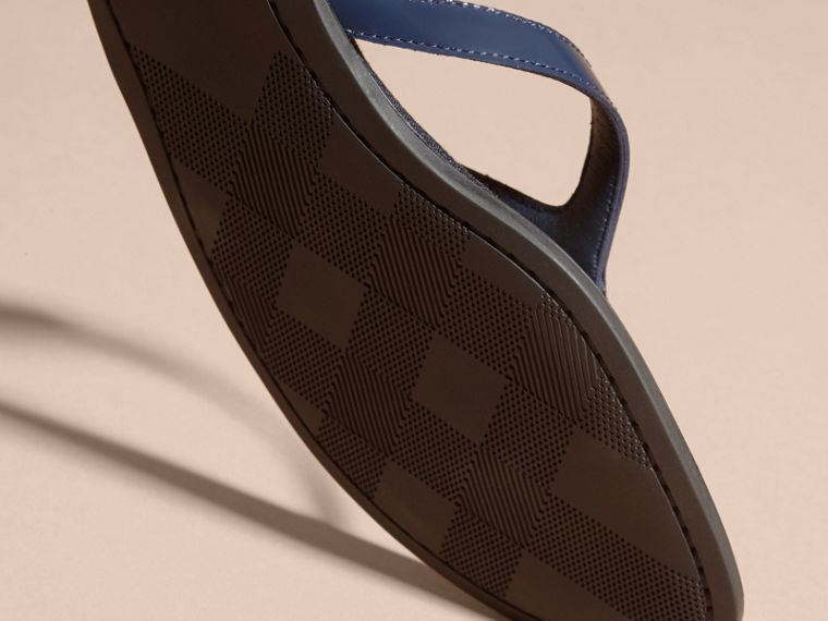 House Check and Patent Leather Sandals in Indigo Blue - Women | Burberry - cell image 4