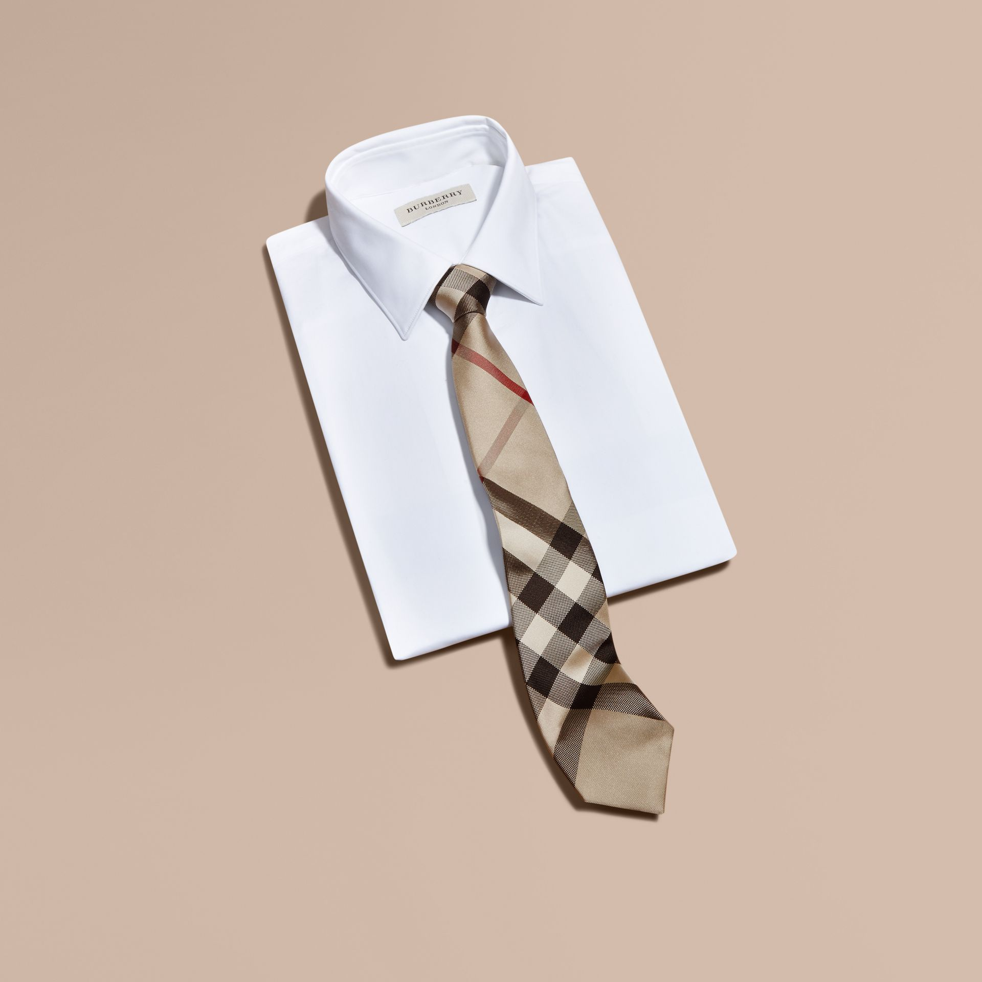 Modern Cut Check Silk Tie in New Classic - Men | Burberry Canada - gallery image 4