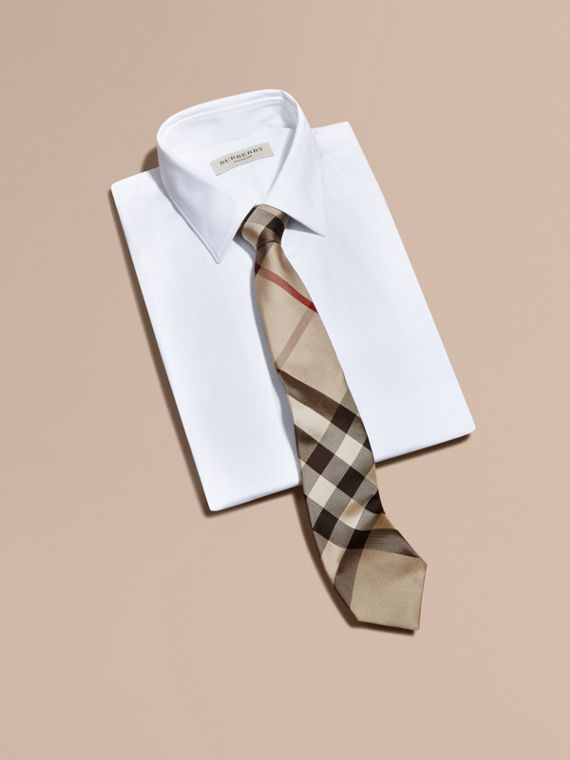 Modern Cut Check Silk Tie in New Classic - Men | Burberry - cell image 3