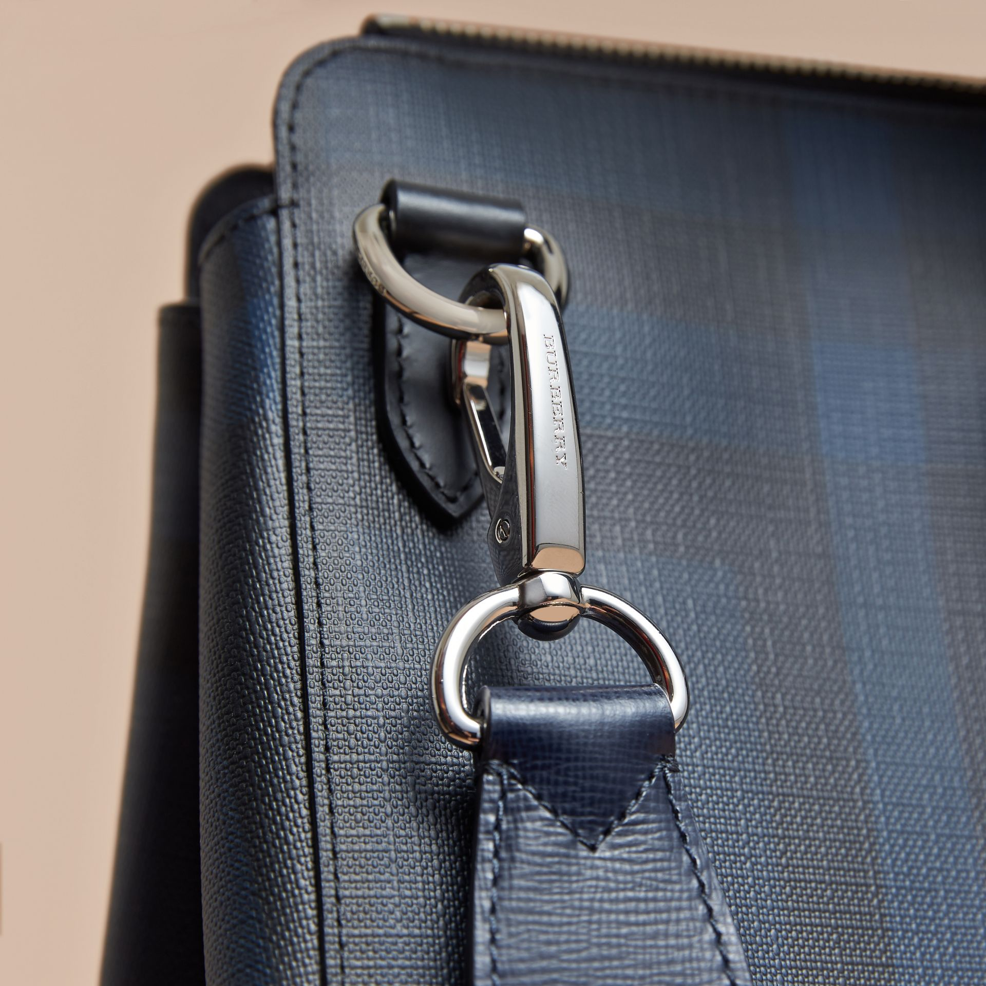 Large London Leather Briefcase Dark Navy - gallery image 2