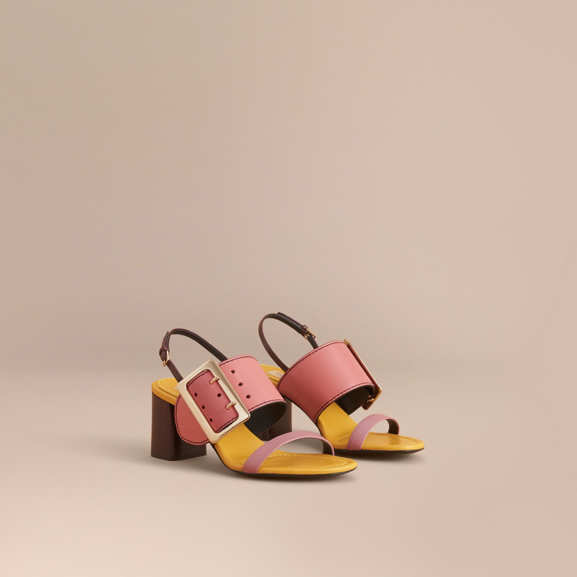 Colour Block Leather Sandals with Buckle Detail - gallery image 1