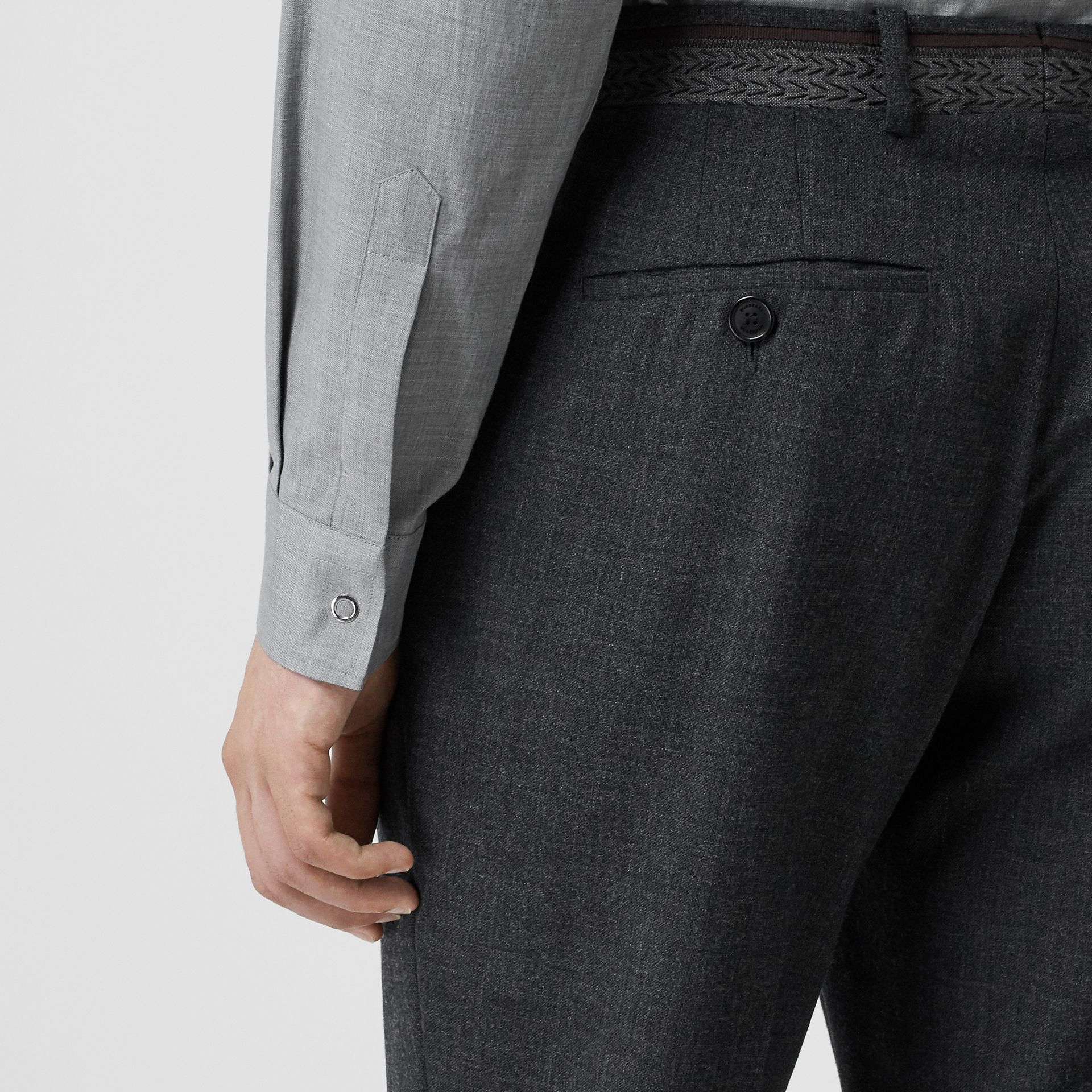 Classic Fit Wool Tailored Trousers in Dark Grey | Burberry - gallery image 4