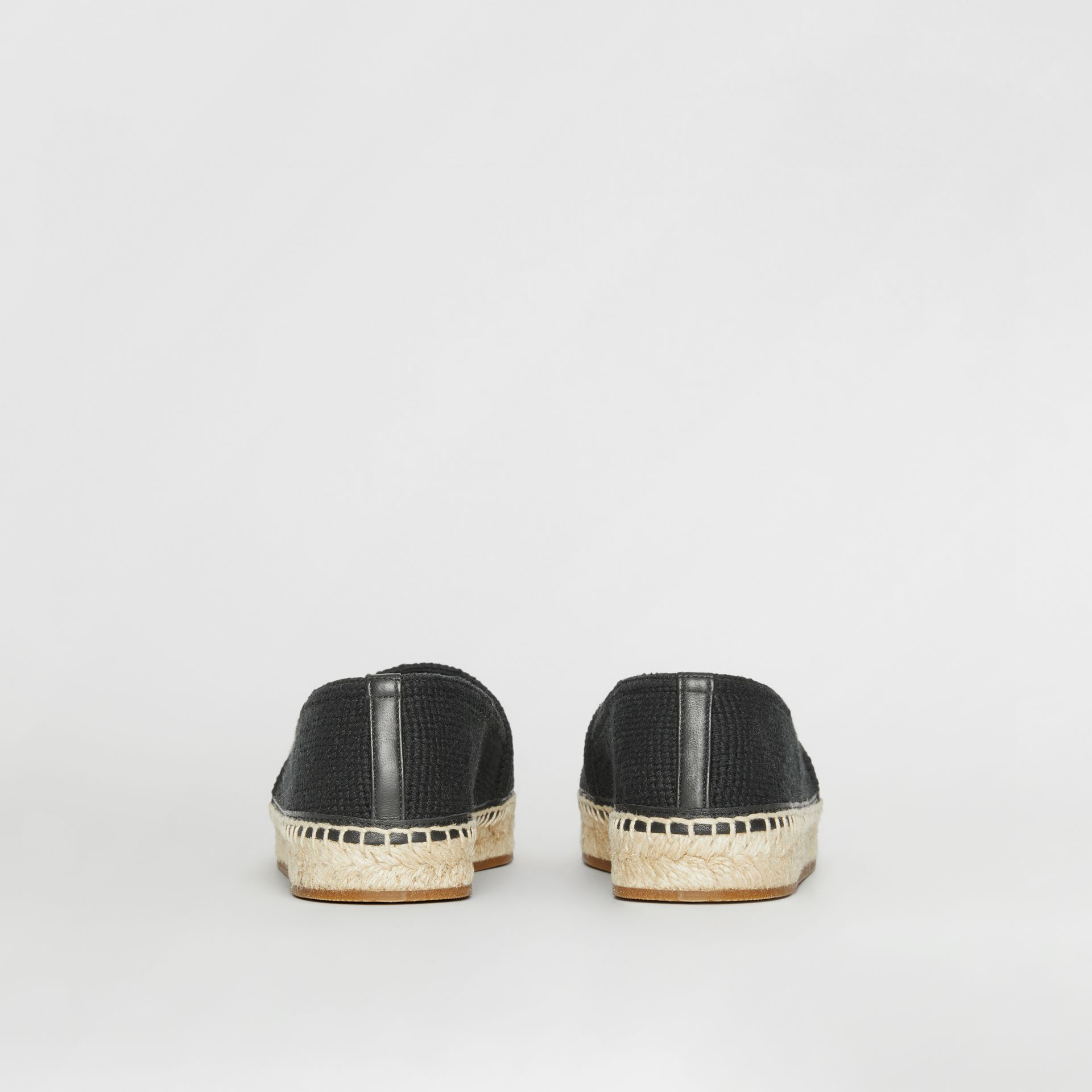 Monogram Motif Cotton and Leather Espadrilles in Black/ecru - Women | Burberry - gallery image 3