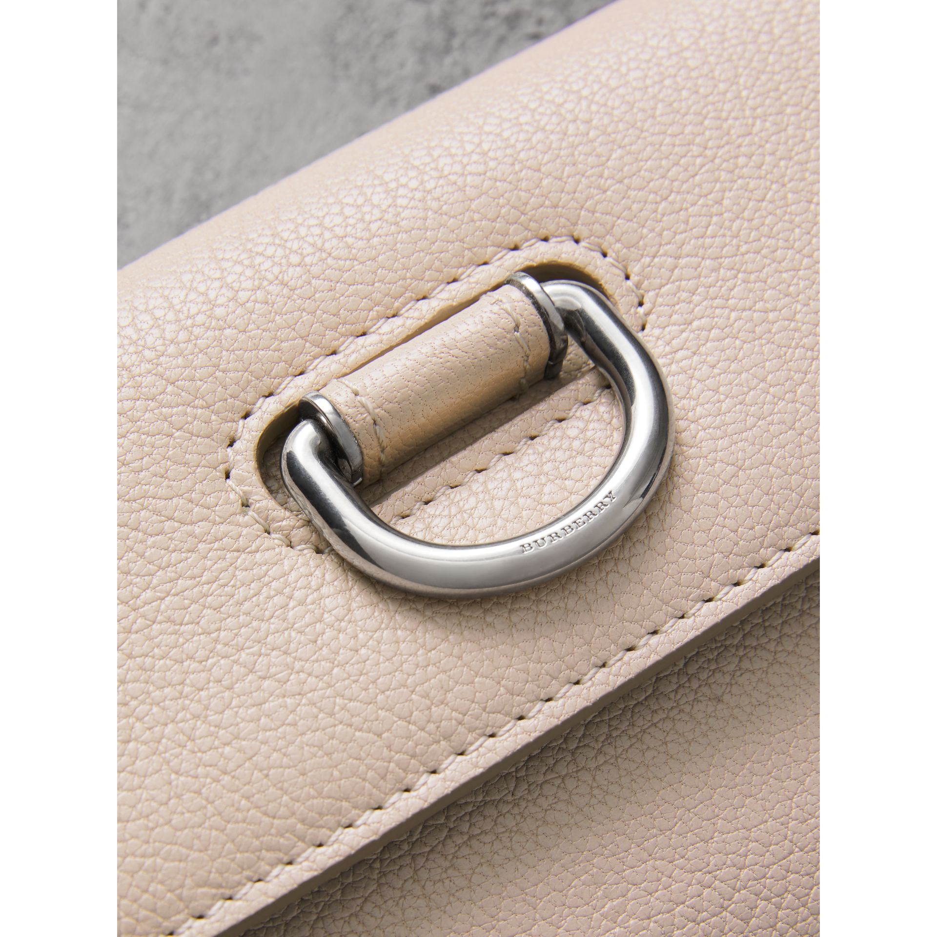 D-ring Grainy Leather Continental Wallet in Stone - Women | Burberry - gallery image 1