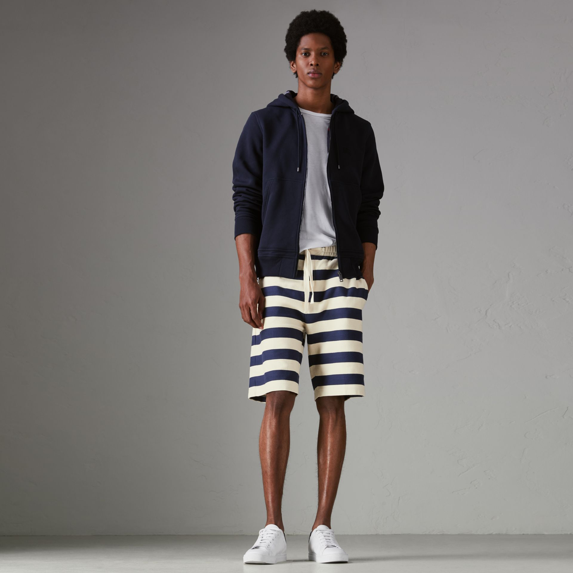 Striped Cotton Shorts in Off White/navy - Men | Burberry Singapore - gallery image 0