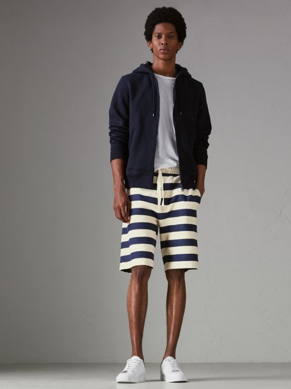 Striped Cotton Shorts in Off White/navy