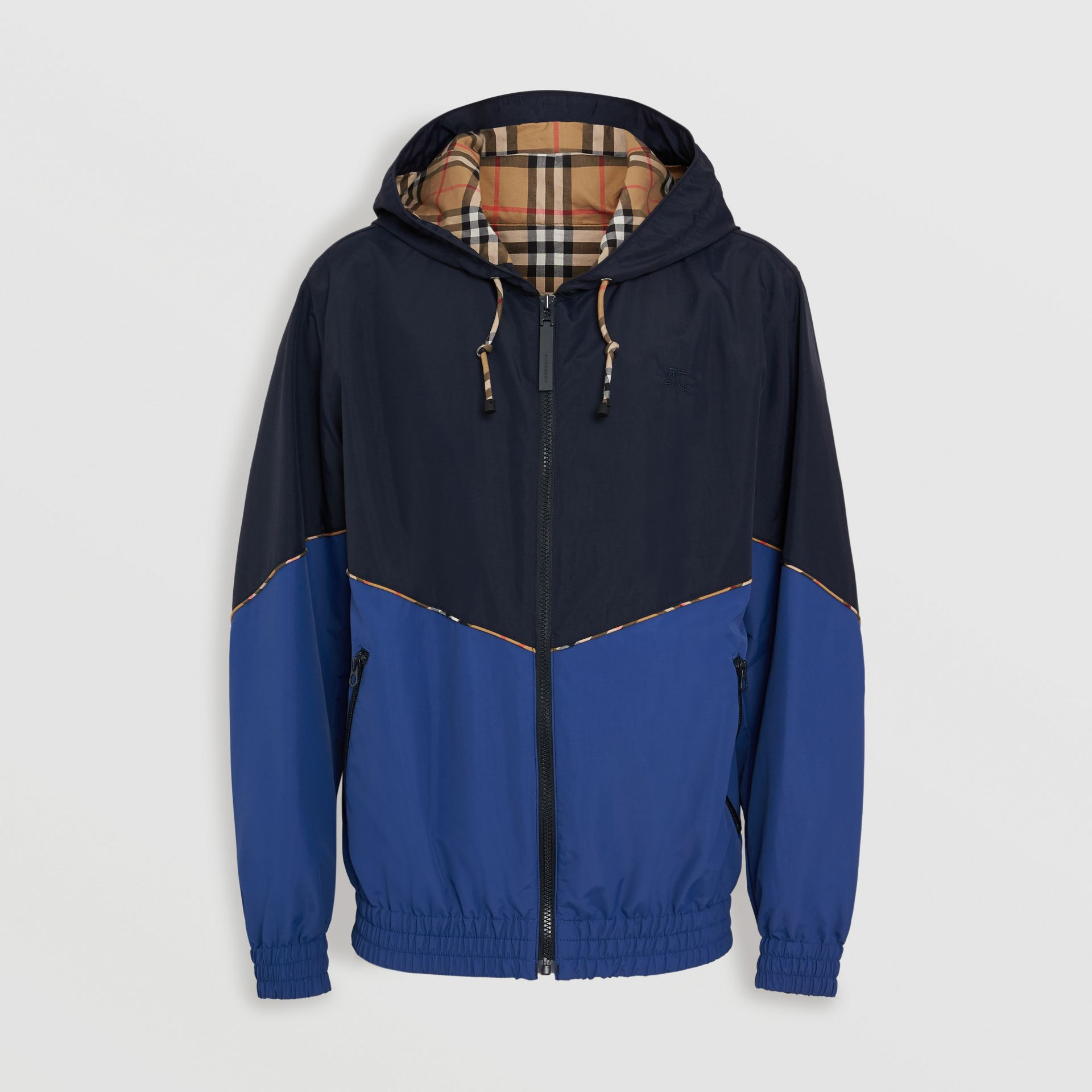 Vintage Check Detail Colour Block Hooded Jacket in Navy - Men | Burberry - gallery image 3