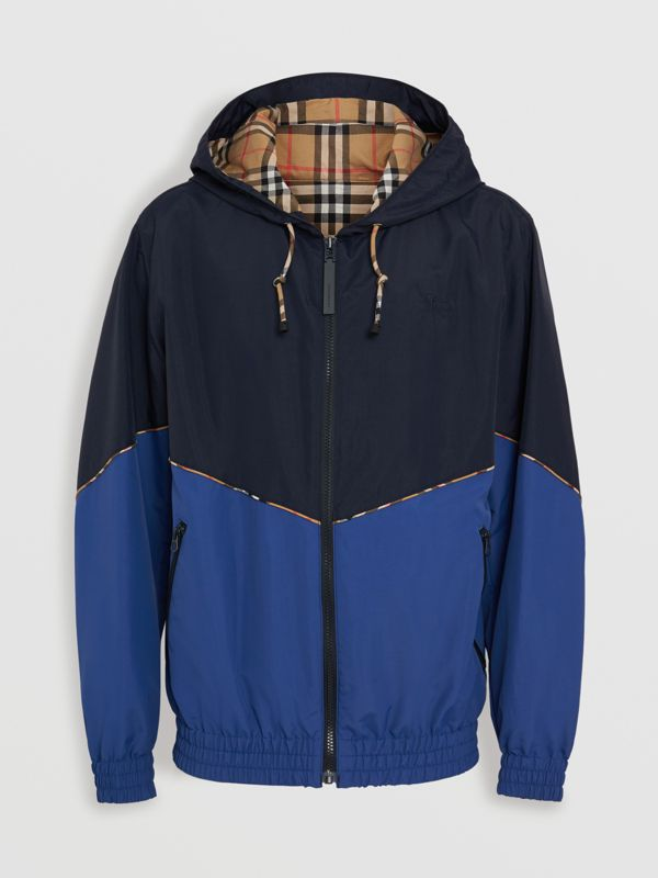 Vintage Check Detail Colour Block Hooded Jacket in Navy - Men | Burberry - cell image 3