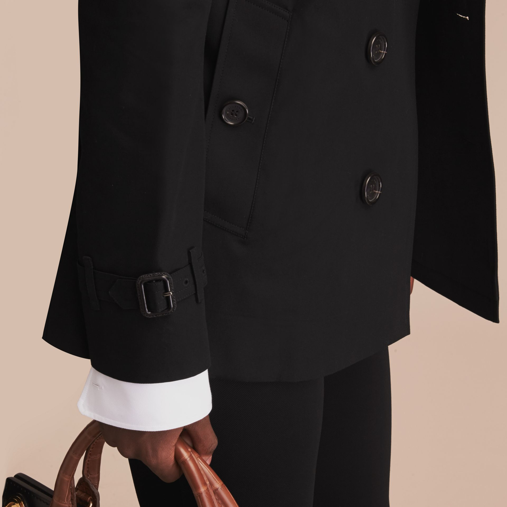 Black The Sandringham – Short Heritage Trench Coat Black - gallery image 7