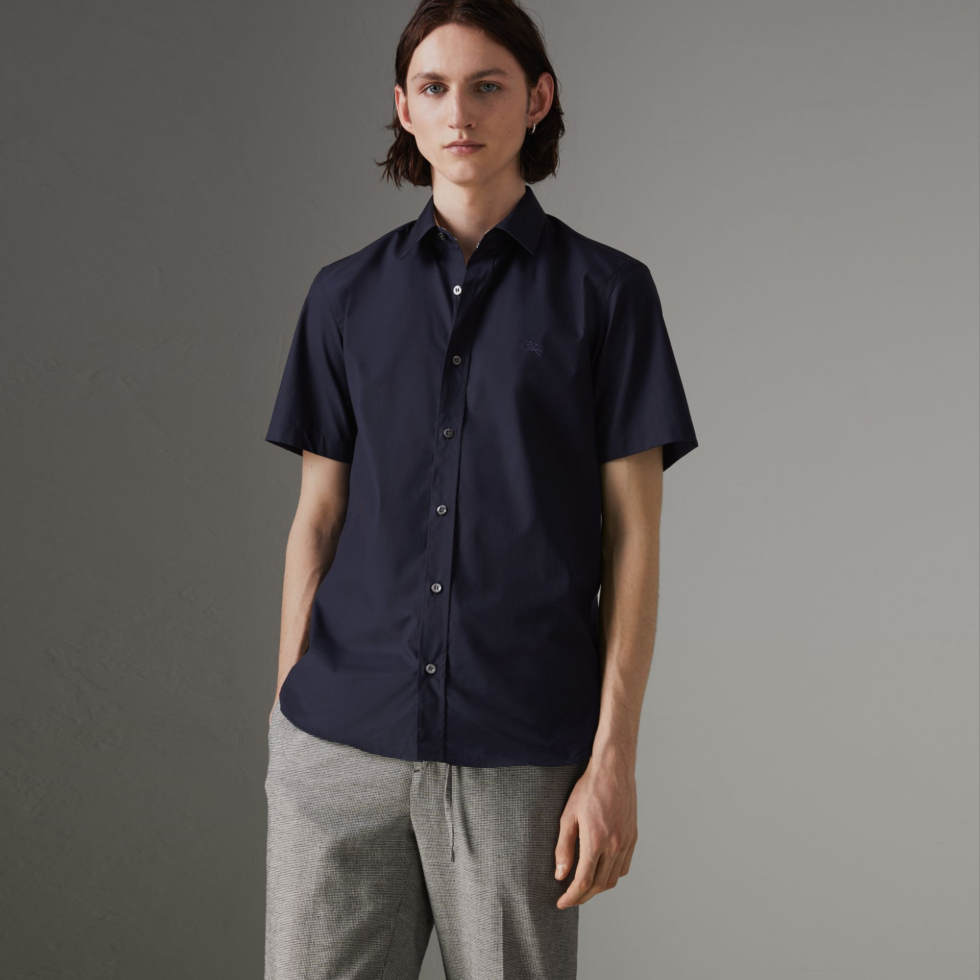Short-sleeve Stretch Cotton Shirt in Navy - Men | Burberry Australia - gallery image 0