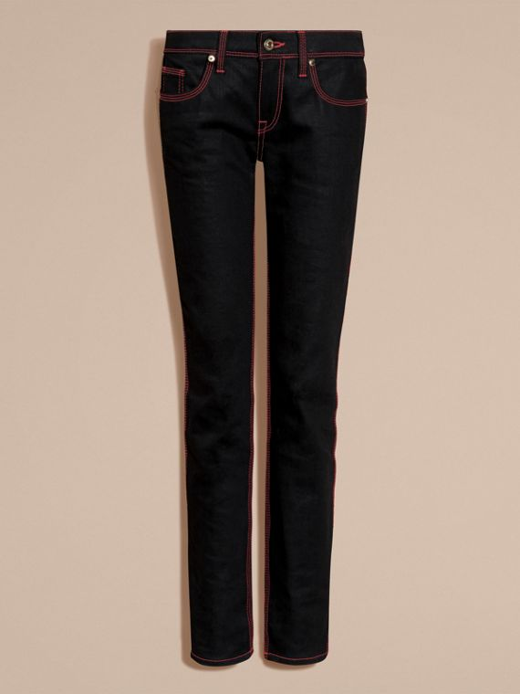 Black Skinny Fit Cropped Jeans with Topstitch Detail - cell image 3